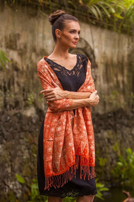 Silk Shawl with Tangerine Geometric Motifs from Indonesia 'Parang Puzzle'