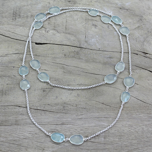 Aqua Chalcedony Sterling Silver Station Necklace 'Aqua Princess'