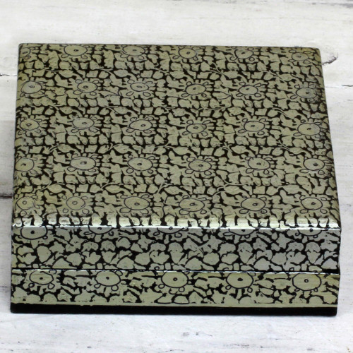 Artisan Crafted Floral Motif Weeping Willow Wood Box 'Silver Bloom'