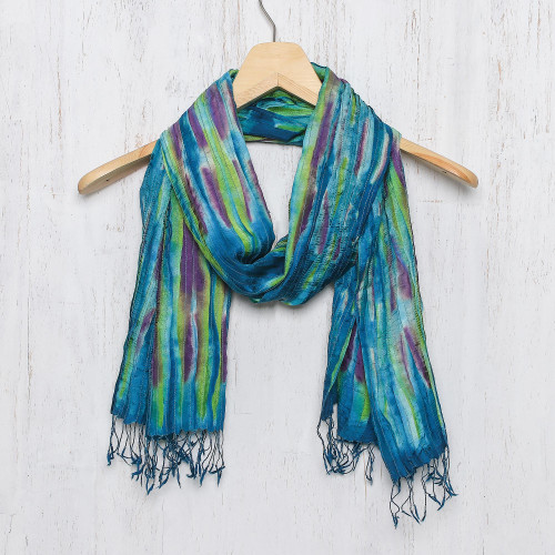 Hand Woven Fringed Silk Scarf in Multicolor from Thailand 'Enchanting Love'