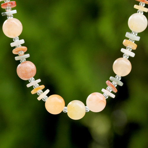 Jade Glass and Quartz Beaded Necklace from Thailand 'Moonlight Discs'