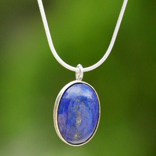 Sterling Silver and Lapis Lazuli Pendant Necklace Thailand 'Spangled Oval'