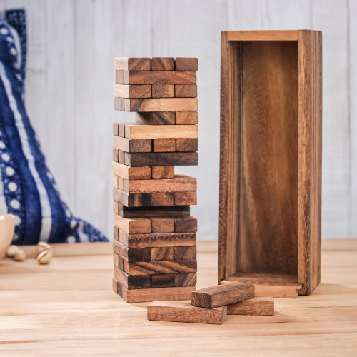 Wood Stacking Tower Game with Box from Thailand 'Tower Delight'