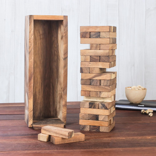 Hand Made Wood Stacking Tower Game from Thailand 'Tower of Fun'