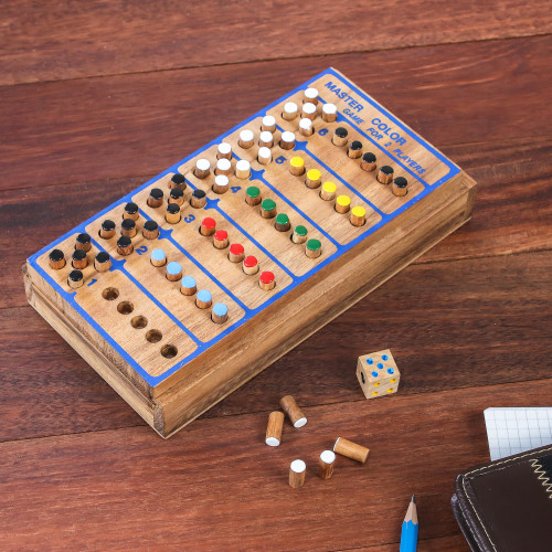 Hand Made Colorful Wood Peg Game from Thailand 'Code Breaker'