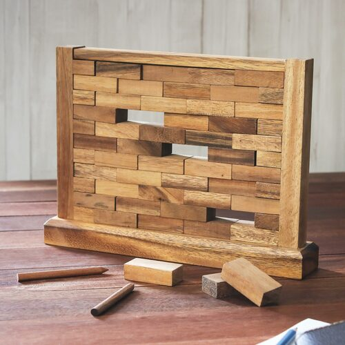 Handmade Multi Player Raintree Wood Game from Thailand 'Stacking Wall'