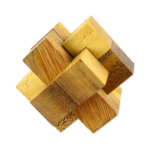 Hand Made Wood Puzzle Game 6 Pieces from Thailand 'Wood Burr'