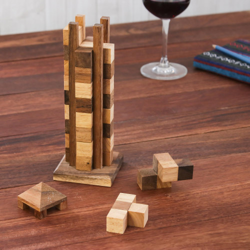 Hand Made Wood Tower Puzzle Game from Thailand 'Babylon Tower'