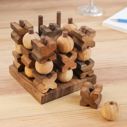 Hand Made Wood Game Tic Tac Toe from Thailand '3D Tic Tac Toe'