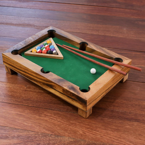 Handmade 12-Inch Raintree Wood Billiards Game from Thailand 'Best of Billiards'