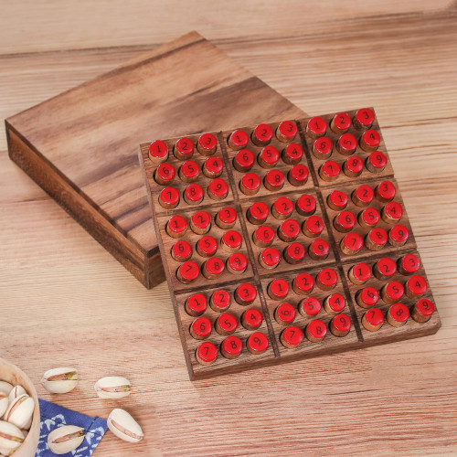 Hand Made Wood Sudoku Puzzle Game from Thailand 'Sudoku'