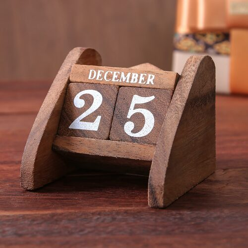 Hand Made Wood Decorative Desk Calendar from Thailand 'Time Catcher'