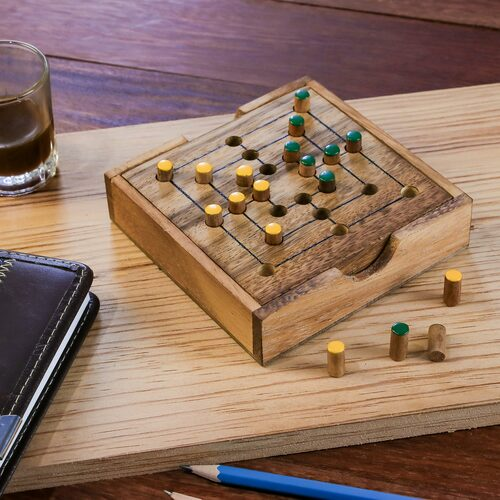 Hand Made Wood Pegs Board Game from Thailand 'Strategy Square'
