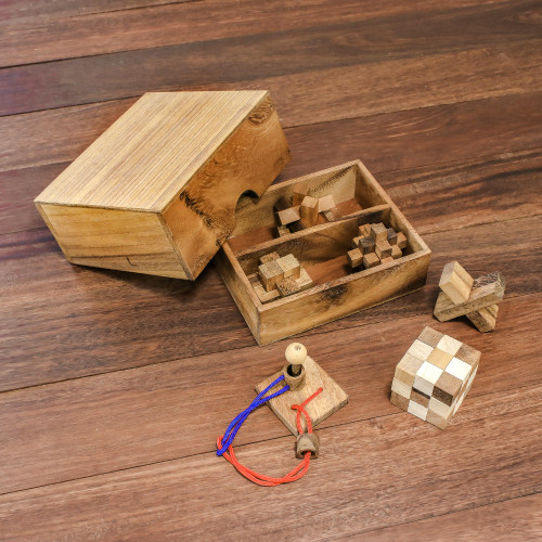 Handmade Set of Six Mini Wooden Puzzles from Thailand 'Mini Puzzles'
