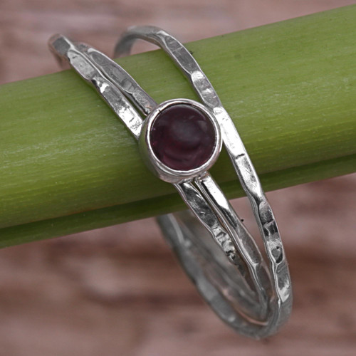 Garnet and Sterling Silver Solitaire Ring from Indonesia 'Magical Essence in Red'