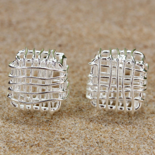 Sterling Silver Openwork Stud Earrings from Thailand 'Open Boxes'