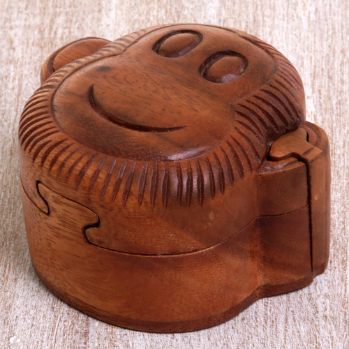 Hand Made Wood Puzzle Box Monkey Face from Indonesia 'Happy Monkey'