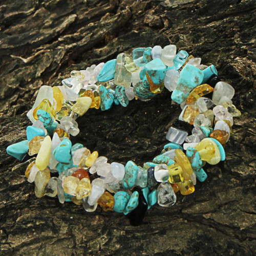 Multigem Beaded Bracelets Set of 3 Citrine from Brazil 'Ocean Trio'