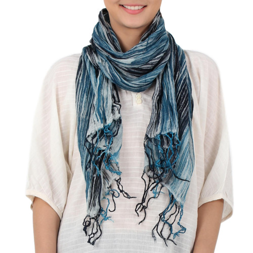 Batik Tie-Dyed Cotton Scarf in Azure from Thailand 'Speckled Field in Azure'