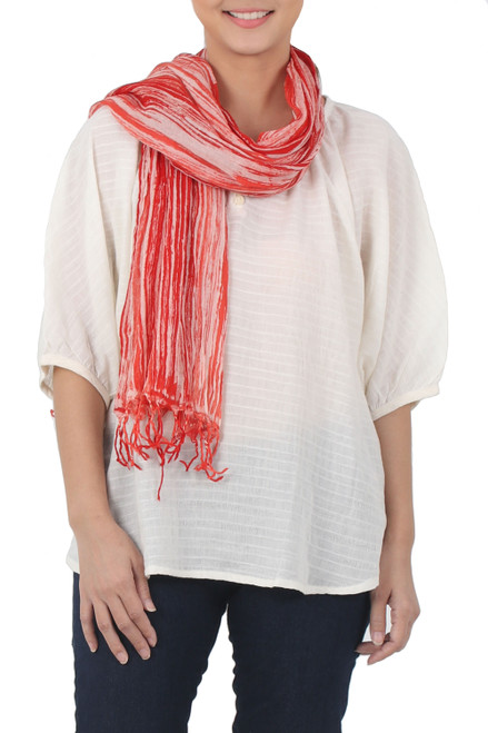 Batik Tie-Dyed Cotton Scarf in Paprika from Thailand 'Speckled Field in Paprika'