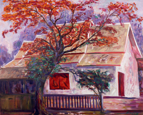Signed Stretched Impressionist Painting of House and Tree 'Wat Ram Poeng'