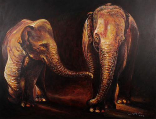 Signed Stretched Impressionist Painting of Two Elephants 'Let's Play'