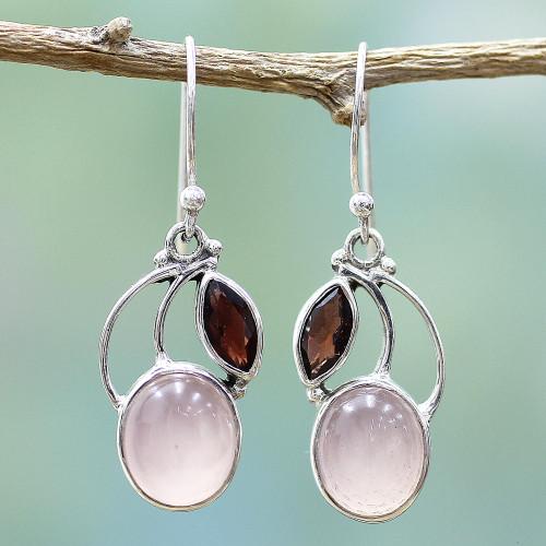 Garnet Chalcedony Sterling Silver Dangle Earrings India 'Pink Fog'