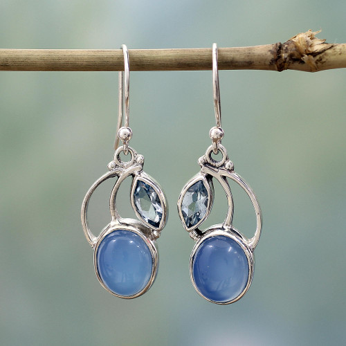 Sterling Silver Blue Topaz Chalcedony Dangle Earrings India 'Blue Fog'