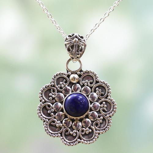Sterling Silver Lapis Lazuli Pendant Necklace India 'Blue Eternity'