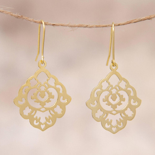 Gold Plated Sterling Silver Floral Dangle Earrings Peru 'Floral Rhombus'