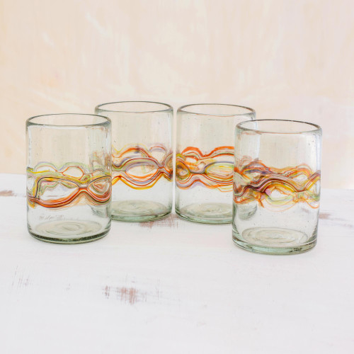 Hand Blown Recycled Juice Glasses Set of 4 from Guatemala 'Orange Reefs'