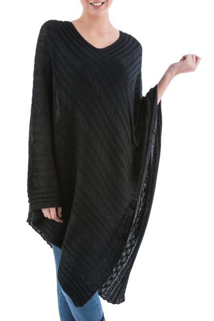 Long Black Textured Poncho from Peru 'Black Inca Maze'