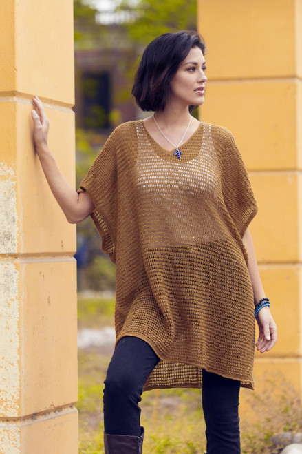 Knit Copper Tunic with V Neck and Short Sleeves 'Copper Dreamcatcher'