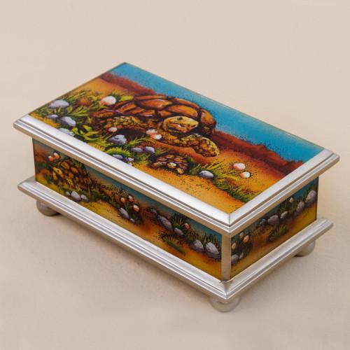 Hand Painted Tortoise Wood Decorative Box from Peru 'Land Tortoise'