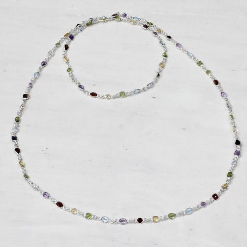 Multi-Gem Station Necklace Garnet Amethyst Citrine 'Delightful Colors'