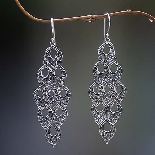 Hand Made Sterling Silver Dangle Earring from Indonesia 'Bali Rain'