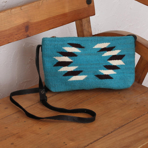 Hand Made Wool Sling Handbag Caribbean Blue from Mexico 'Woven Generations'