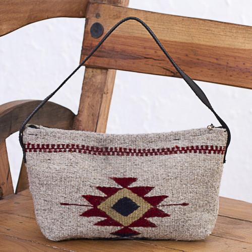 Zapotec Wool Baguette Handbag in Khaki from Mexico 'Godlike Eye in Khaki'