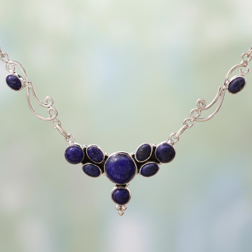 Lapis Lazuli Sterling Silver Pendant Necklace from India 'Blue Grove'