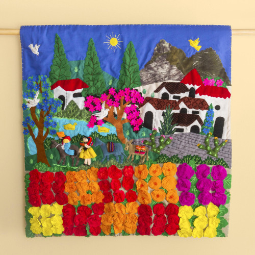 Hand Made Cotton Patchwork Wall Hanging Floral Village 'Rose Ranch'