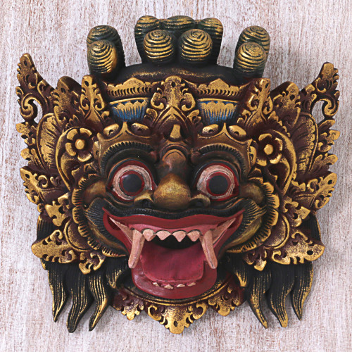 Hand Made Gold Colored Wood Mask from Indonesia 'Bali Barong'