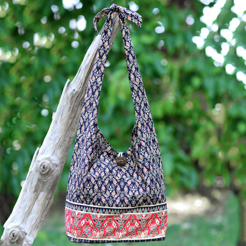 Handmade Thai Red and Black Cotton Shoulder Bag 'Dramatic Thai'
