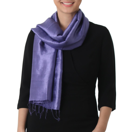 Hand Woven Fringed Silk Scarf in Blue-Violet from Thailand 'Otherworldly in Blue-Violet'