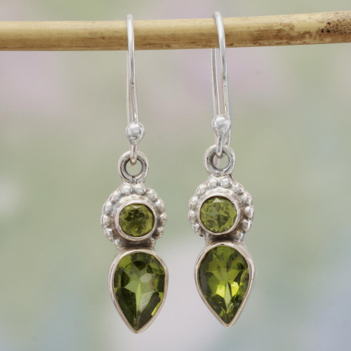 Peridot and Sterling Silver Dangle Earrings from India 'Forest Sparkle'