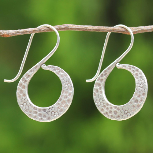 Women's Silver Floral Drop Earrings from Thailand 'Floral Swan'
