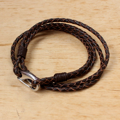 Sable Braided Leather Cord Bracelet from Thailand 'Braided Friendship in Sable'