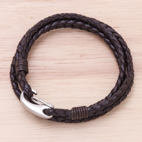 Brown Braided Leather Wrap Bracelet from Thailand 'Braided Friendship in Coffee'
