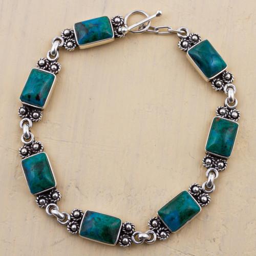 Chrysocolla Sterling Silver Link Bracelet from Peru 'Seven Desires'