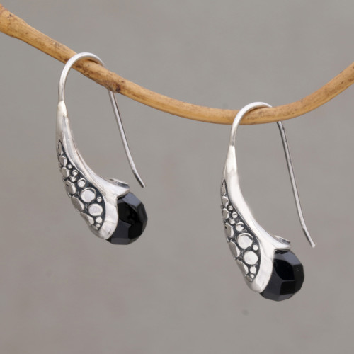 Handcrafted Sterling Silver Onyx Drop Earrings Indonesia 'Midnight Spell'