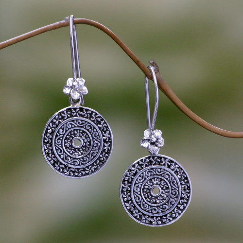 Hand Made Sterling Silver Dangle Earrings Cicular Indonesia 'Frangipani Altar'